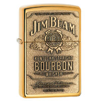 ZIPPO JIM BEAM FULL LABEL BRASS CHIP HIGH POLISH BRASS LIGHTER GIFT BOX 94258