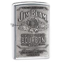 ZIPPO JIM BEAM FULL LABEL PEWTER CHIP HIGH POLISH CHROME LIGHTER GIFT BOX 94257