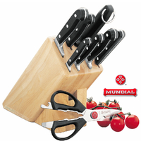 New MUNDIAL BONZA 9pc Knife Block Set 9 Piece High Carbon Stainless Steel