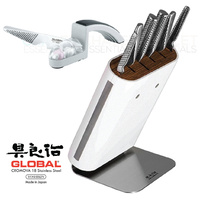 New GLOBAL HIRO WHITE 7pc Knife Block Set + Sharpener Knife Block Set Japan