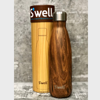 New SWELL S'WELL INSULATED 500ml TEAKWOOD Stainless Steel Bottle Tea Coffee Water Soup
