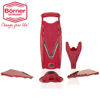 BORNER V5 POWER V SLICER 6 PIECE SET 6PC MANDOLINE RED GERMAN