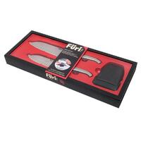 FURI PRO East West Santoku 3pc Knife Gift Set 17cm 13cm & Sharpener 41363