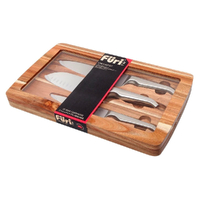 FURI PRO Acacia 3pc Japanese S/ Steel Knife Gift Set 41364 Santoku Cooks Utility