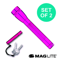 NEW MAGLITE 2AA FLASHLIGHT HOT PINK & SOLITAIRE MADE IN USA