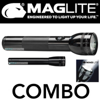 NEW MAGLITE 2D Cell & 2AA Cell 2 Pack COMBO Black Flashlight Made in USA