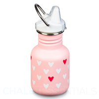 KLEAN KANTEEN KID 355ml 12 oz SIPPY HEARTS PINK BPA FREE Water Bottle SAVE !