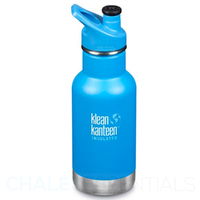 KLEAN KANTEEN KID CLASSIC INSULATED 355ml 12oz SPORTS CAP BLUE POOL PARTY Bottle
