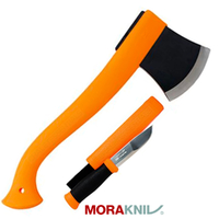 New MORAKNIV Outdoor 2pk Orange AXE & Hunting KNIFE Kit 12096