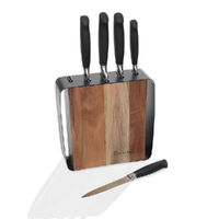STANLEY ROGERS ACACIA STEEL FRAME KNIFE BLOCK 6 PIECE 41413 WOOD BLOCK STAINLESS KNIVES