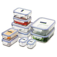GLASSLOCK Tempered Glass Microwave Safe Container Set W/ Lid Oven 10pc