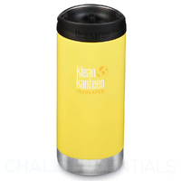 KLEAN KANTEEN TKWIDE INSULATED 12oz 355ml BUTTERCUP YELLOW W/ Cafe Cap