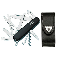Victorinox SWISS ARMY HUNTSMAN BLACK Knife & Leather Belt Pouch Combo