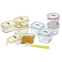 GLASSLOCK Baby Food Glass Container Set W/ Lid & Silicon Spoon 9pc 28099