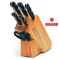 New MUNDIAL 7pc Knife Wooden Block Set 7 Piece 70007 Stainless Steel Scissors
