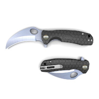 Honey Badger Claw Small BLACK Plain Blade Folding Pocket Knife YHB1141