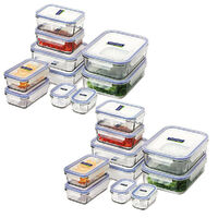 GLASSLOCK Tempered Glass Microwave Safe Container Set W/ Lid Oven 20pc
