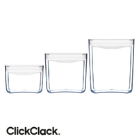 New CLICKCLACK 3 Piece Pantry Small Cube Box Set Air Tight Containers 3pc
