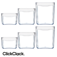 New CLICKCLACK 6 Piece Pantry Small Cube Box Set Air Tight Containers 6pc