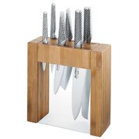 New GLOBAL IKASU 7 Piece Stainless Steel Bamboo Knife Block Set Knives 7pc Japanese