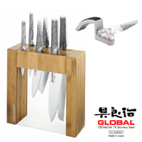 New GLOBAL 7 Piece IKASU & Mino SHARPENER Knife Block Set 7pc