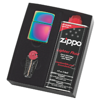 NEW ZIPPO SPECTRUM LIGHTER GIFT BOX WITH FLUIDS + FLINTS FREE POSTAGE