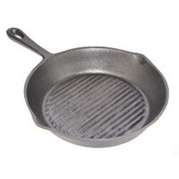 Cast Iron Round Ribbed Skillet Frying Pan W/ Handle 20cm  Grillpan Grill Griddle