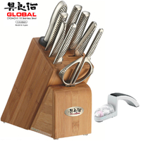 NEW GLOBAL TAKASHI 10 Pc Knife Block Set + Mino Sharpener  Japanese Knives