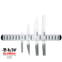New GLOBAL 5pc Knife Set & Magnetic Rack Chef Paring Bread Utility Cooks Japan