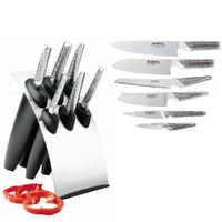 Global Millennium Knife Block 7Pc Set CROMOVA 18 Stainless Steel 7 Piece Chef Cutlery