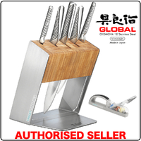 Global KATANA Global Katana 6Pc Knife Block Set Knives & 3 STAGE MINOSHARP Sharpener