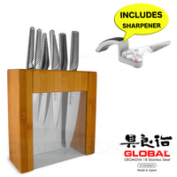 Japanese Knives IKASU GLOBAL BNIB and BONUS MINO SHARPENER Knife Block Set