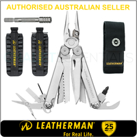 LATEST 2018 Leatherman WAVE PLUS + Multi Tool & Sheath & Bit Kit & Bit Extender
