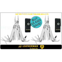 LATEST 2018 Leatherman 2 X WAVE PLUS + Multi Tool & Sheath *AUTH AUS DEALER*