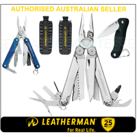 LATEST 2018 Leatherman WAVE PLUS + Multi Tool & Bit Kit & Skeletool Knife & Squirt BLU