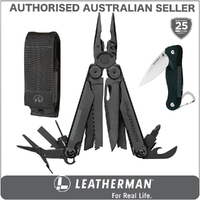 New Leatherman BLACK WAVE PLUS + Multi Tool & Sheath & Crater C33 AUTHAUSDEALER