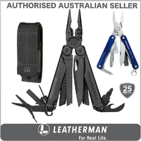 New Leatherman BLACK WAVE PLUS + Multi Tool & Sheath & Squirt BLUE AUTHAUSDEALER