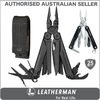 New Leatherman BLACK WAVE PLUS + Multi Tool & Sheath & Squirt BLACK AUTHAUSDEALER