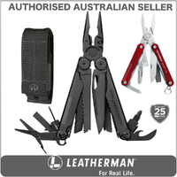 New Leatherman BLACK WAVE PLUS + Multi Tool & Sheath & Squirt RED AUTHAUSDEALER