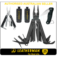 LATEST '18 Leatherman BLK WAVE PLUS + MultiTool & BitKit & Crater & Squirt BLK