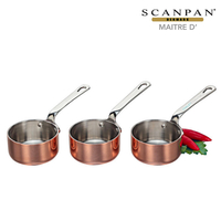 New 3pc Scanpan Maitre D Set of 3 Mini Sauce Pots 6cm x 4cm Stainless / Copper 18444