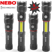 NEBO SLYDE KING 4 PACK 330 Lumen Rechargeable LED Flashlight Work Light 4 Mode 89510