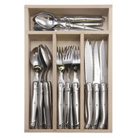 ANDRE VERDIER DEBUTANT STAINLESS 24 PCE MIRROR CUTLERY SET MADE IN FRANCE