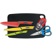 Scanpan Spectrum Colour 6 Piece Kitchen Knife Set Chopping Board Shears Sharpener 18877