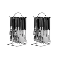 16721 AVANTI 48 PIECE STAINLESS STEEL HANGING CUTLERY SET 48PC BLACK 2 x 24pc