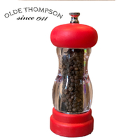 NEW OLDE THOMPSON SOFT GRIP PEPPER MILL RED