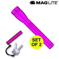 2AA MAGLITE FLASHLIGHT HOT PINK & SOLITAIRE USA
