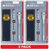 NEW 2 PACK X MAGLITE 2AA CELL SILVER FLASHLIGHT WITH POUCH MADE IN USA