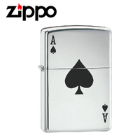New Zippo High Polish Chrome Lucky Ace Spade Lighter