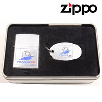 Zippo France 1998 FIFA World Cup Lighter + Key Chain In Collectors Tin